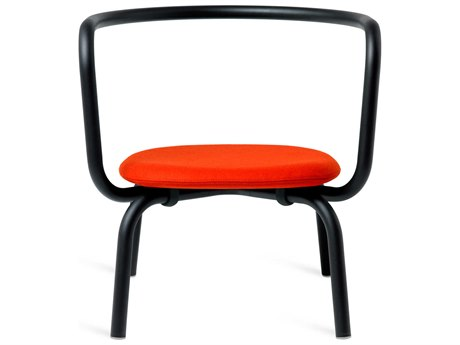 Emeco Outdoor Parrish By Konstantin Grcic Aluminum Black Lounge Chair with Red Leather Seat