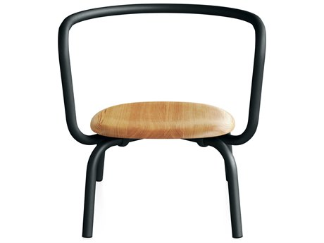Emeco Outdoor Parrish By Konstantin Grcic Aluminum Black Lounge Chair with Maple Seat PatioLiving