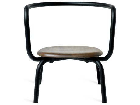 Emeco Outdoor Parrish By Konstantin Grcic Aluminum Black Lounge Chair with Walnut Seat PatioLiving