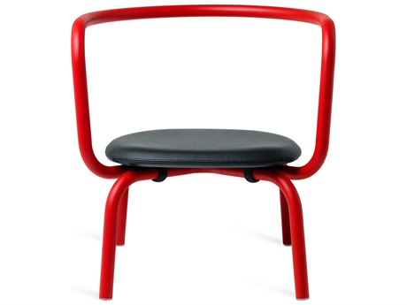 Emeco Outdoor Parrish By Konstantin Grcic Aluminum Red Lounge Chair with Black Leather Seat