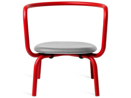 Emeco Outdoor Parrish By Konstantin Grcic Aluminum Red Lounge Chair with Grey Leather Seat PatioLiving