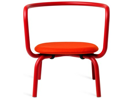 Emeco Outdoor Parrish By Konstantin Grcic Aluminum Red Lounge Chair with Red Leather Seat PatioLiving