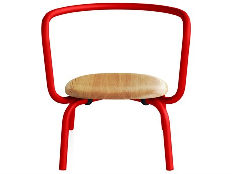 Emeco Outdoor Parrish By Konstantin Grcic Aluminum Red Lounge Chair with Maple Seat PatioLiving
