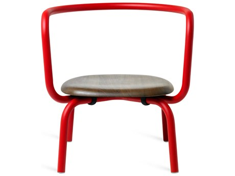 Emeco Outdoor Parrish By Konstantin Grcic Aluminum Red Lounge Chair with Walnut Seat PatioLiving