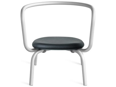 Emeco Outdoor Parrish By Konstantin Grcic Aluminum Lounge Chair with Black Leather Seat