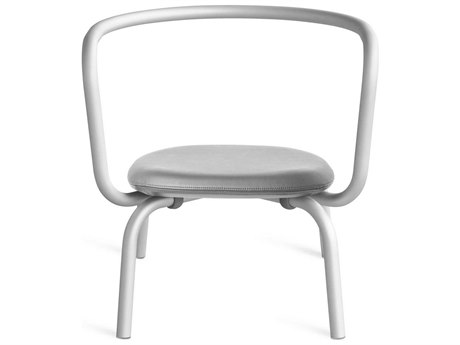 Emeco Outdoor Parrish By Konstantin Grcic Aluminum Lounge Chair with Grey Leather Seat