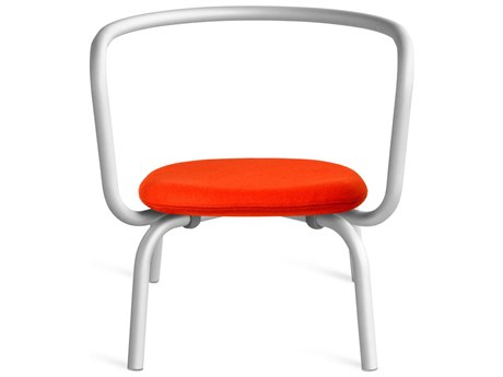 Emeco Outdoor Parrish By Konstantin Grcic Aluminum Lounge Chair with Red Leather Seat