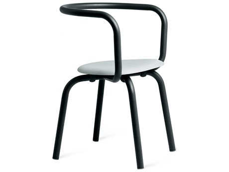Emeco Outdoor Parrish By Konstantin Grcic Aluminum Black Dining Side Chair with Grey Seat PatioLiving