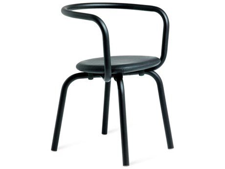 Emeco Outdoor Parrish By Konstantin Grcic Aluminum Black Dining Side Chair with Black Leather Seat PatioLiving