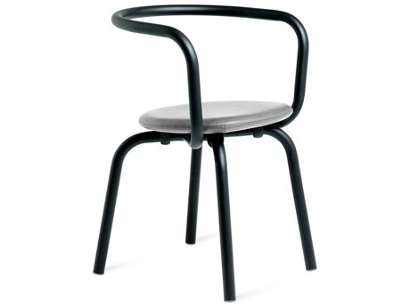 Emeco Outdoor Parrish By Konstantin Grcic Aluminum Black Dining Side Chair with Grey Leather Seat PatioLiving