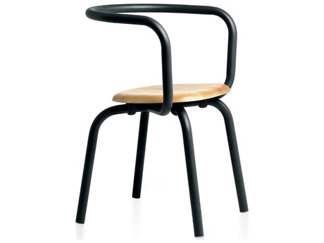 Emeco Outdoor Parrish By Konstantin Grcic Aluminum Black Dining Side Chair with Maple Seat PatioLiving