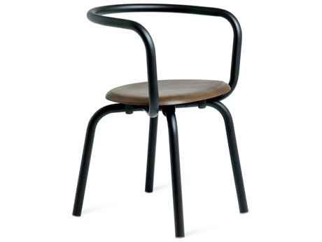 Emeco Outdoor Parrish By Konstantin Grcic Aluminum Black Dining Side Chair with Walnut Seat PatioLiving