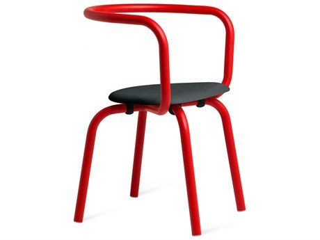 Emeco Outdoor Parrish By Konstantin Grcic Aluminum Red Dining Side Chair with Black Seat PatioLiving