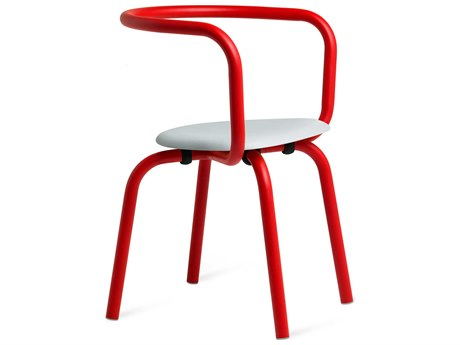 Emeco Outdoor Parrish By Konstantin Grcic Aluminum Red Dining Side Chair with Grey Seat PatioLiving