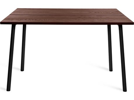 Emeco Outdoor Run By Sam Hecht And Kim Colin Aluminum Black 48'' Wide Square Dining Table in Walnut Top PatioLiving