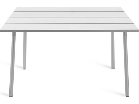 Emeco Outdoor Run By Sam Hecht And Kim Colin Aluminum Clear Anodized 48'' Wide Square Dining Table PatioLiving
