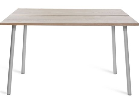 Emeco Outdoor Run By Sam Hecht And Kim Colin Aluminum Clear Anodized 48'' Wide Square Dining Table with Ash Top PatioLiving