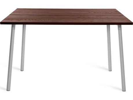 Emeco Outdoor Run By Sam Hecht And Kim Colin Aluminum Clear Anodized 48'' Wide Square Dining Table with Walnut Top PatioLiving