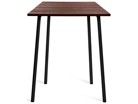 Emeco Outdoor Run By Sam Hecht And Kim Colin Aluminum Black 32'' Wide Square Bar Table with Walnut Top PatioLiving