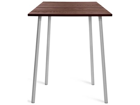 Emeco Outdoor Run By Sam Hecht And Kim Colin Aluminum Clear Anodized 32'' Wide Square Bar Table with Walnut Top PatioLiving