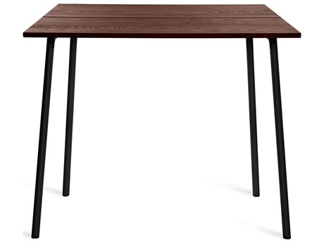 Emeco Outdoor Run By Sam Hecht And Kim Colin Aluminum Black 48''W x 42''D Rectangular Bar Table with Walnut Top PatioLiving