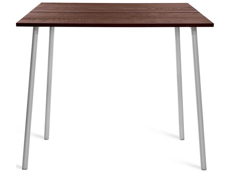 Emeco Outdoor Run By Sam Hecht And Kim Colin Aluminum 48''W x 42''D Rectangular Bar Table with Walnut Top PatioLiving