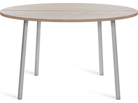 Emeco Outdoor Run By Sam Hecht And Kim Colin Aluminum Clear Anodized 42'' Wide Round Chat Table with Ash Top PatioLiving