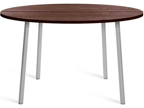 Emeco Outdoor Run By Sam Hecht And Kim Colin Aluminum Clear Anodized 42'' Wide Round Chat Table with Walnut Top PatioLiving