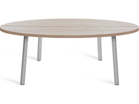 Emeco Outdoor Run By Sam Hecht And Kim Colin Aluminum Clear Anodized 42'' Wide Round Coffee Table with Ash Top PatioLiving