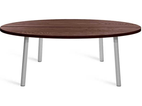 Emeco Outdoor Run By Sam Hecht And Kim Colin Aluminum Clear Anodized 42'' Wide Round Coffee Table with Walnut Top PatioLiving