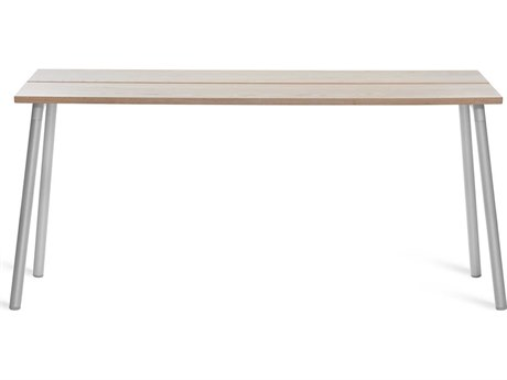 Emeco Outdoor Run By Sam Hecht And Kim Colin Aluminum Clear Anodized 62''W x 16''D Rectangular Console Table with Ash Top