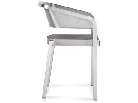 Emeco Outdoor Soso By Jean Nouvel Brushed Aluminum Stackable Dining Arm Chair PatioLiving
