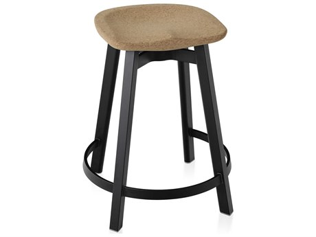Emeco Outdoor Su By Nendo Aluminum Black Anodized Counter Stool with Cork Seat PatioLiving