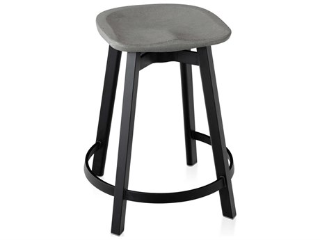 Emeco Outdoor Su By Nendo Aluminum Black Anodized Counter Stool with Eco-Concrete Seat PatioLiving