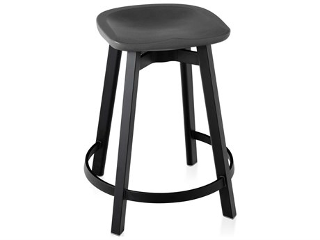 Emeco Outdoor Su By Nendo Aluminum Black Anodized Counter Stool with Charcoal Seat PatioLiving