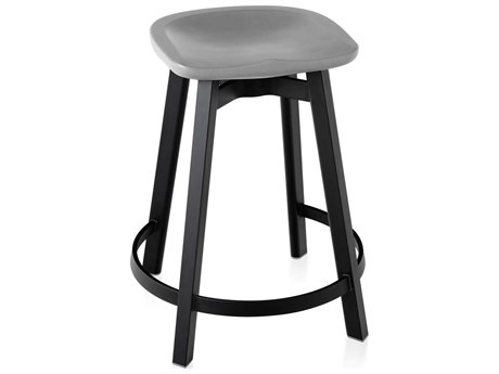 Emeco Outdoor Su By Nendo Aluminum Black Anodized Counter Stool with Flint Seat PatioLiving