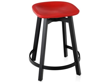 Emeco Outdoor Su By Nendo Aluminum Black Anodized Counter Stool with Red Seat PatioLiving