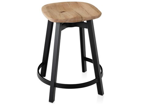 Emeco Outdoor Su By Nendo Aluminum Black Anodized Counter Stool with Oak Seat PatioLiving