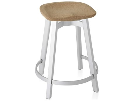 Emeco Outdoor Su By Nendo Aluminum Natural Anodized Counter Stool with Cork Seat PatioLiving