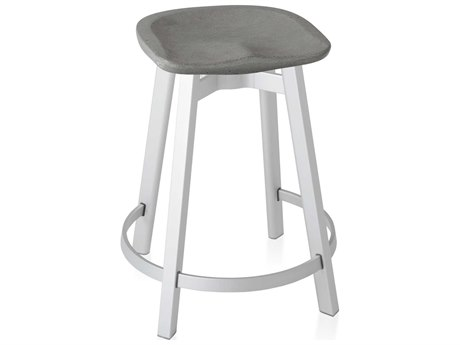 Emeco Outdoor Su By Nendo Aluminum Natural Anodized Counter Stool with Eco Concrete Seat PatioLiving