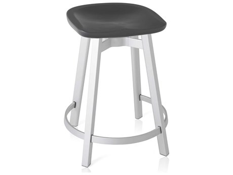 Emeco Outdoor Su By Nendo Aluminum Natural Anodized Counter Stool with Charcoal Seat PatioLiving