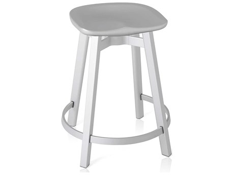 Emeco Outdoor Su By Nendo Aluminum Natural Anodized Counter Stool with Flint Seat PatioLiving