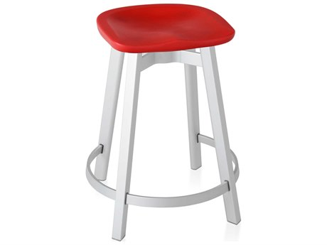 Emeco Outdoor Su By Nendo Aluminum Natural Anodized Counter Stool with Red Seat PatioLiving