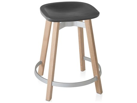 Emeco Outdoor Su By Nendo Wood Counter Stool with Charcoal Seat PatioLiving