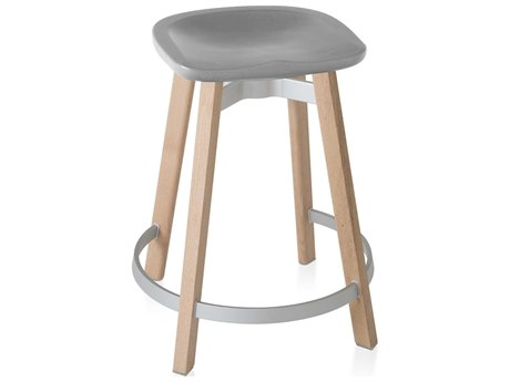 Emeco Outdoor Su By Nendo Wood Counter Stool with Flint Seat PatioLiving