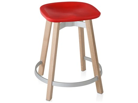 Emeco Outdoor Su By Nendo Wood Counter Stool with Red Seat PatioLiving