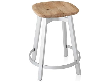 Emeco Outdoor Su By Nendo Aluminum Natural Anodized Counter Stool with Oak Seat PatioLiving