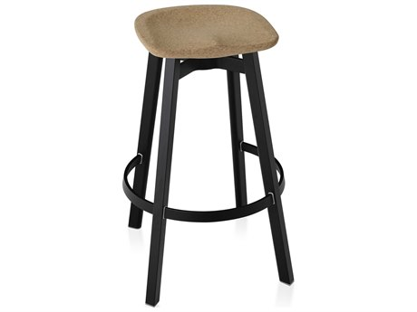Emeco Outdoor Su By Nendo Aluminum Black Anodized Bar Stool with Cork Seat PatioLiving