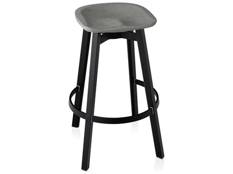 Emeco Outdoor Su By Nendo Aluminum Black Anodized Bar Stool with Eco-Concrete Seat PatioLiving