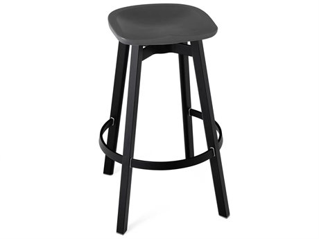 Emeco Outdoor Su By Nendo Aluminum Black Anodized Bar Stool with Charcoal Seat PatioLiving